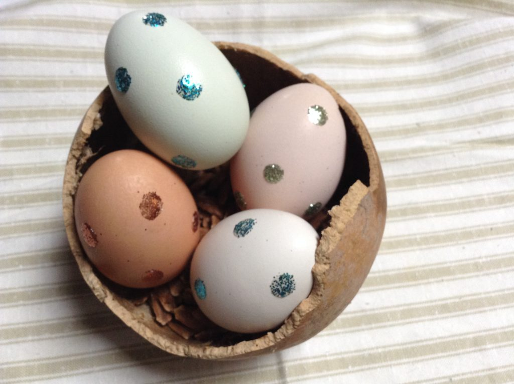 how to add glitter to easter eggs