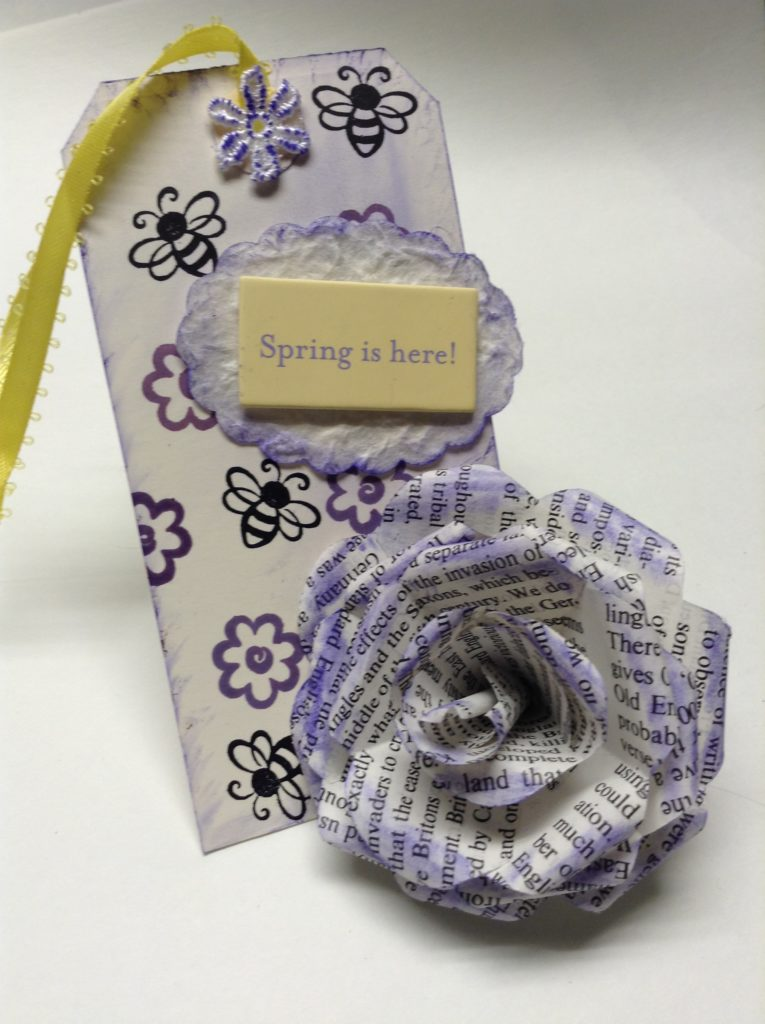 diy gift tag with paper rose