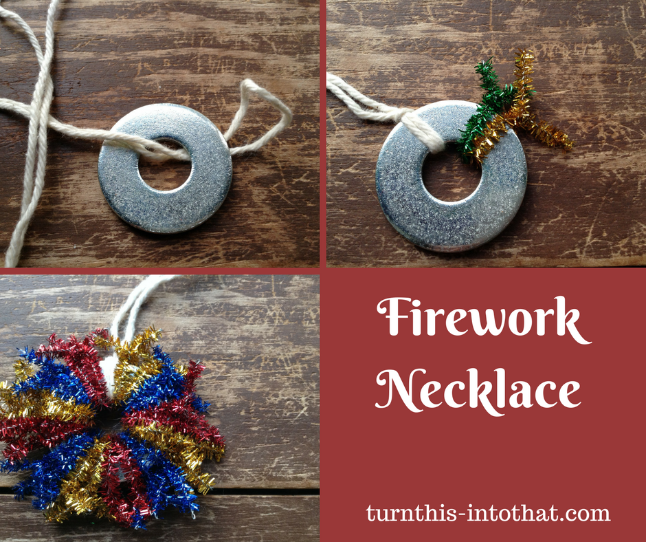 diy Firework Necklace-4th of July