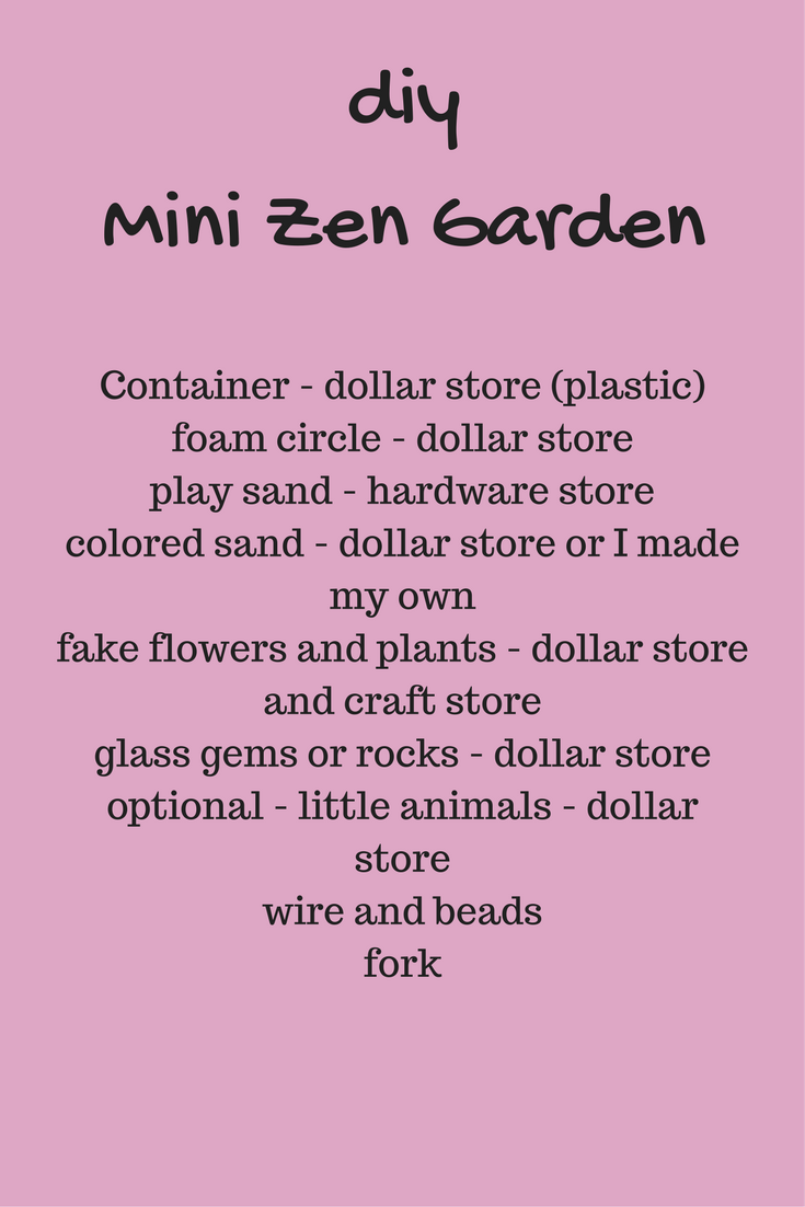 supplies for making a mini zen garden
