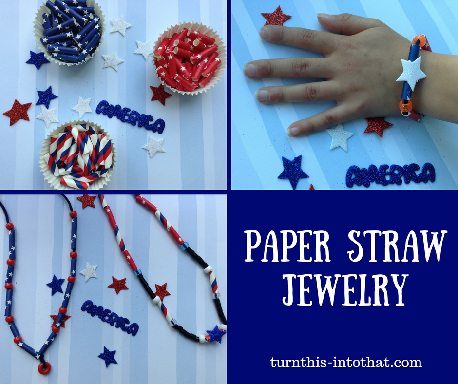 Paper Straw Jewelry – 4th of July