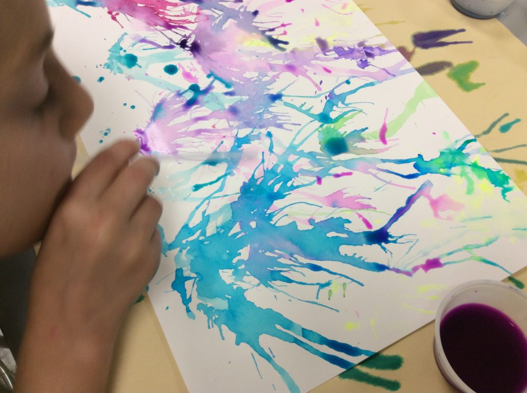 straw painting for kids