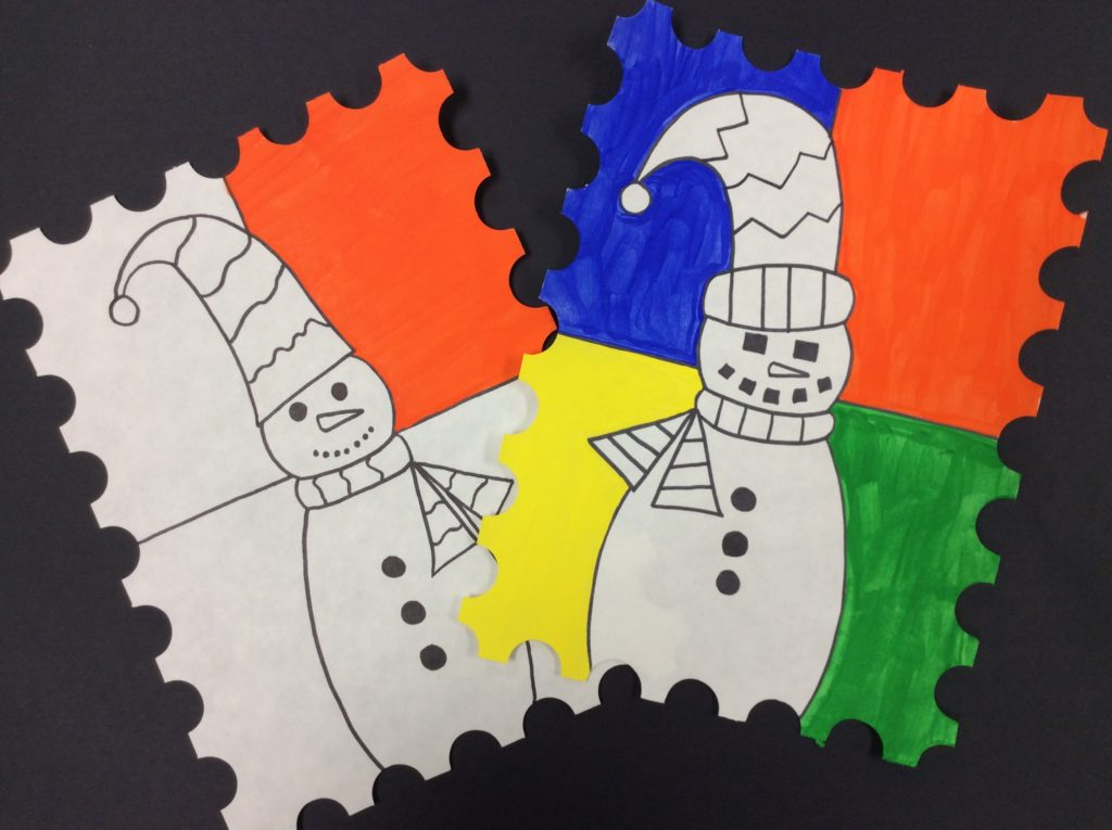 snowman art painting project for kids