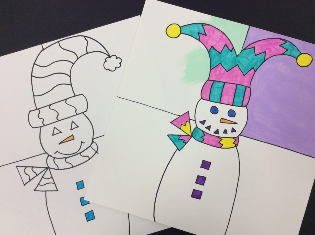 3rd grade snowman painting project