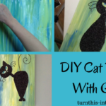 DIY Cat Painting With Glitter