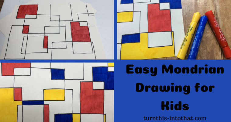 Easy Mondrian Inspired Drawing for Kids