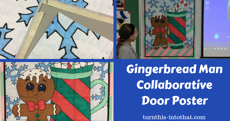 Gingerbread Man Collaborative Art Poster for Kids