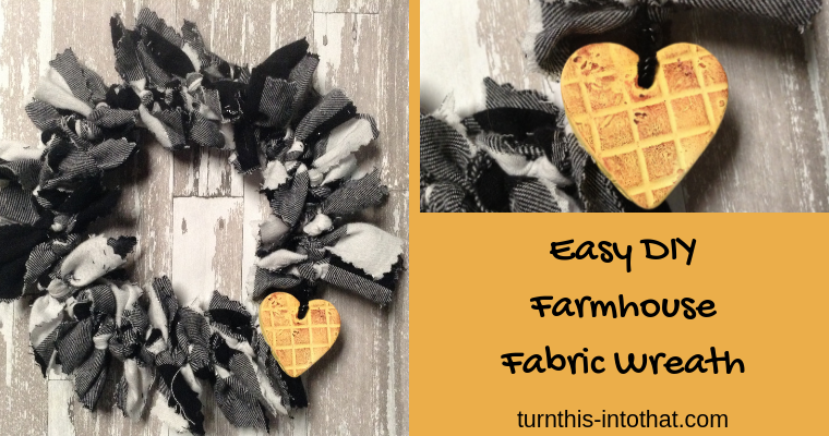 Primitive Farmhouse Wreath using Buffalo Plaid Fabric