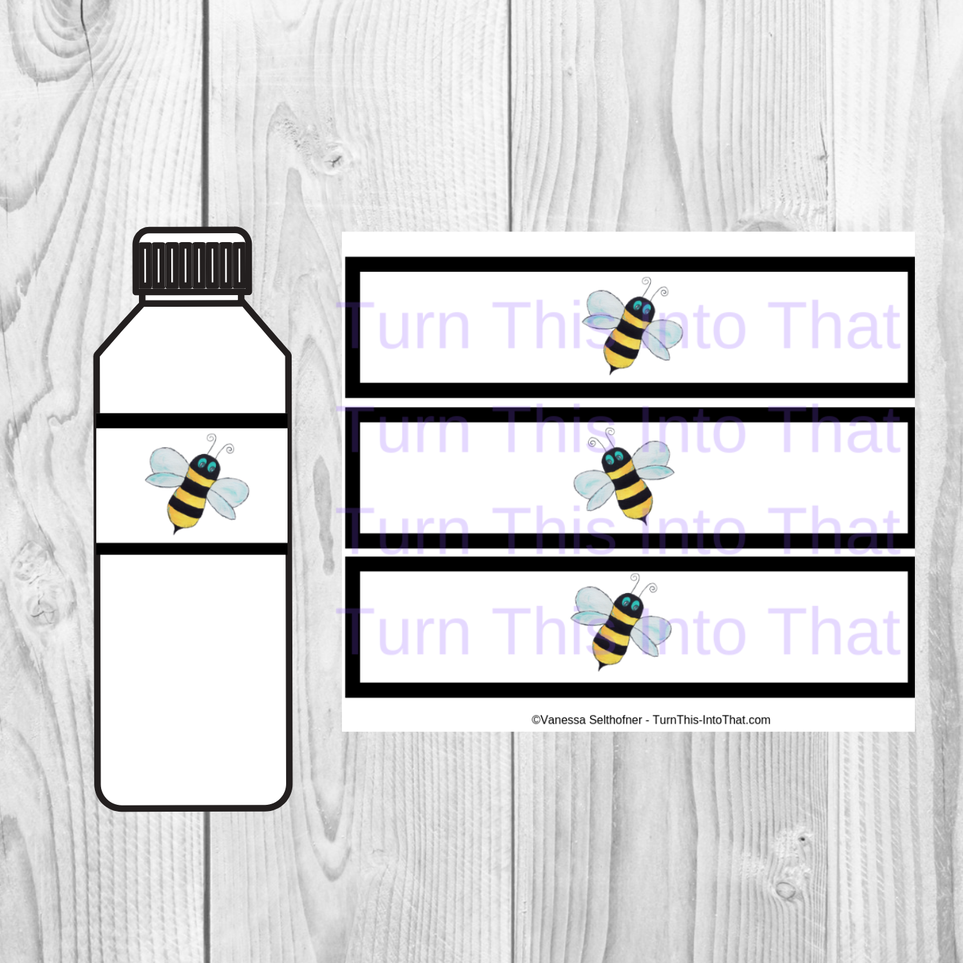 graphic regarding Printable Bottle Labels known as Bee Printable Drinking water Bottle Labels - PDF