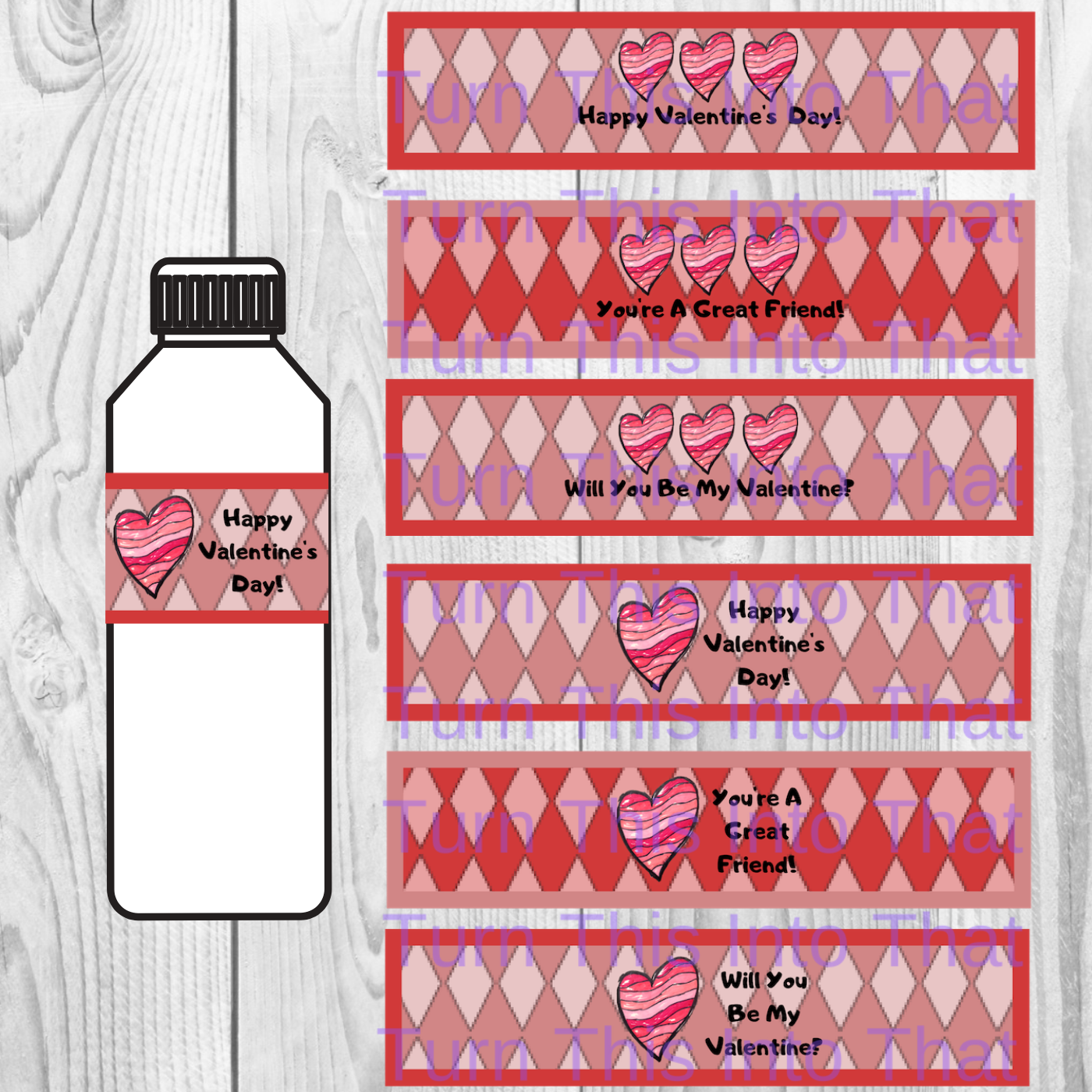 Heart Valentine Printable Water Bottle Labels Pdf Turn This Into That