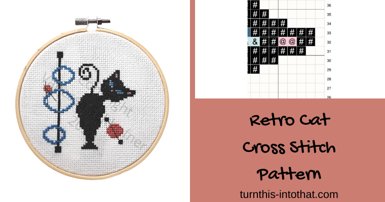 Retro Atomic Cat Cross Stitch Pattern